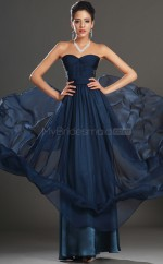 Sweetheart Neck Velvet Chiffon A Line Ink Blue Bridesmaid Dress NZJT061425