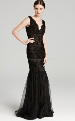Organza Mermaid Scalloped Sweep Train Black Ball Dresses (NZJT06143)