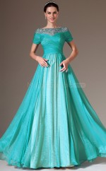 Jade Organza Long Informal Bridesmaid Dress with Short Sleeves NZJT061434