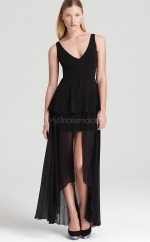 Chiffon A-line V-neck Ankle-length Black Ball Dresses (NZJT06144)