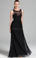 Chiffon , Lace A-line Jewel Floor-length Black Ball Dresses (NZJT06151)