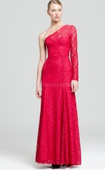Burgundy A-line Floor-length Lace One Shoulder Ball Dresses (NZJT06170)