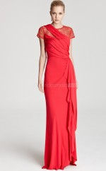Chiffon ,Tulle Sheath Jewel Floor-length Ruby Ball Dresses (NZJT06171)