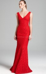 Lace Mermaid V-neck Sweep Train Ruby Ball Dresses (NZJT06173)