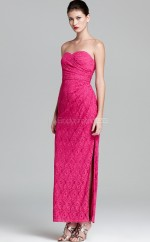 Fuchsia Sheath Sweetheart Lace Long Ball Dresses (NZJT06180)