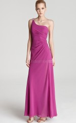 Dark Fuchsia Sheath Ankle-length Chiffon One Shoulder Ball Dresses (NZJT06183)