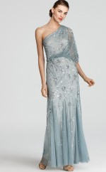 Sky Blue Sheath Floor-length Sequined , Lace One Shoulder Ball Dresses (NZJT06184)