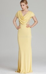 Yellow Sheath Cowl Lace Long Ball Dresses (NZJT06185)
