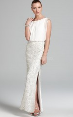 Ivory Sheath Bateau Lace Long Ball Dresses (NZJT06188)