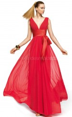 Silk Like Chiffon A-line V-neck Floor-length Red Ball Dresses (NZJT06301)
