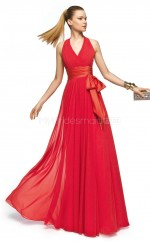 Silk Like Chiffon A-line V-neck Floor-length Red Ball Dresses (NZJT06306)