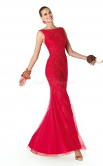 Lace Mermaid Bateau Watteau Train Red Ball Dresses (NZJT06308)