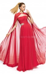 Silk Like Chiffon A-line Strapless Floor-length Red Ball Dresses (NZJT06314)