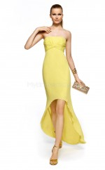 Yellow Silk Like Chiffon Mermaid Strapless Asymmetrical School Ball Gowns(NZJT06372)