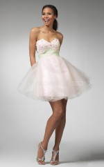 Blushing Pink Princess Sweetheart  Organza Short Ball Dresses (NZJT06379)