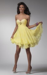 Yellow A-line Sweetheart  Chiffon Short Ball Dresses (NZJT06380)