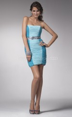 Blue Sheath Strapless Chiffon Short Ball Dresses (NZJT06381)