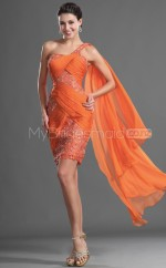 Orange Sheath Short Lace One Shoulder Ball Dresses (NZJT06392)