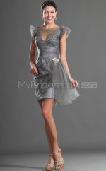 Gray Stretch Satin Sheath Bateau Neckline Short School Ball Gowns(NZJT06393)