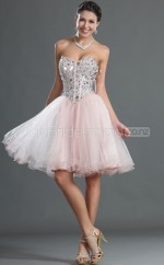 Blushing Pink Princess Sweetheart  Tulle Short Ball Dresses (NZJT06394)