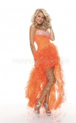 Orange Tulle A-line Strapless Asymmetrical School Ball Gowns(NZJT06404)