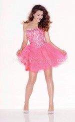 Candy Pink Princess Short Organza One Shoulder Ball Dresses (NZJT06408)