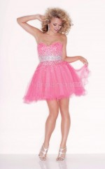 Candy Pink Organza Princess Sweetheart  Short School Ball Gowns(NZJT06409)