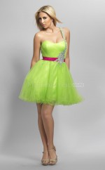 Organza Princess One Shoulder Short Green Ball Dresses (NZJT06412)