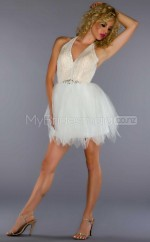 Ivory Sequined Princess Halter Short School Ball Gowns(NZJT06417)