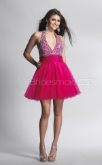 Fuchsia Organza Princess Halter Short School Ball Gowns(NZJT06420)