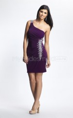 Chiffon Sheath One Shoulder Short Grape Ball Dresses (NZJT06432)