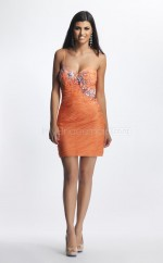 Orange Sheath Sweetheart Chiffon Short Ball Dresses (NZJT06435)