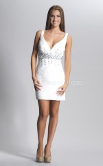 Ivory Sheath V-neck Chiffon Short Ball Dresses (NZJT06436)