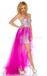 Fuchsia Sequines Sheath Sweetheart Asymmetrical School Ball Gowns(NZJT06438)