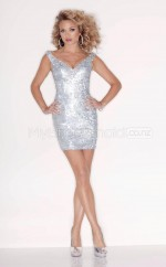 Silver Sequined Sheath V-neck Short School Ball Gowns(NZJT06443)