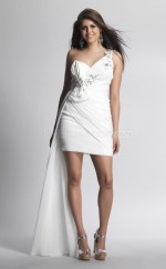 Ivory Sheath Short Chiffon One Shoulder Ball Dresses (NZJT06448)