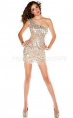 Sequined Sheath One Shoulder Short Gold Ball Dresses (NZJT06451)