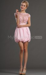 Blushing Pink Chiffon Princess Bateau Neckline Short School Ball Gowns(NZJT06459)
