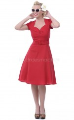Satin A-line Scalloped Neckline Knee Length Red Ball Dresses (NZJT06467)