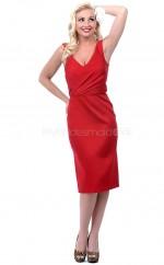 Satin Chiffon Sheath V-neck Knee-length Red Ball Dresses (NZJT06468)