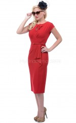 Satin Chiffon Sheath Jewel Tea-length Red Ball Dresses (NZJT06470)