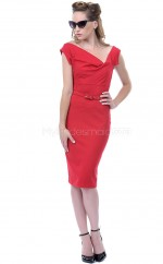 Satin Chiffon Sheath Off The Shoulder Knee-length Red Ball Dresses (NZJT06471)