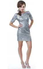 silver Sheath Jewel Sequined Short Ball Dresses (NZJT06476)