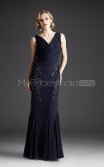 Chiffon Mermaid Cowl Floor-length Black Ball Dresses (NZJT06478)