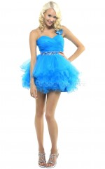 Pool Princess Short Organza One Shoulder Ball Dresses (NZJT06489)