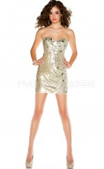 Sequined Sheath Sweetheart  Short Gold Ball Dresses (NZJT06490)