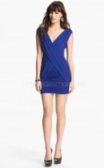 Royal Blue Sheath V-neck Knitwear Short Ball Dresses (NZJT06495)