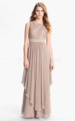 Lace A-line Bateau Floor-length Nude Ball Dresses (NZJT06497)