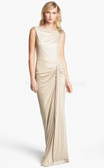 Champagne Sheath Bateau Knitwear Long Ball Dresses (NZJT06498)