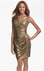 Sequined Sheath V-neck Short Gold Ball Dresses (NZJT06500)